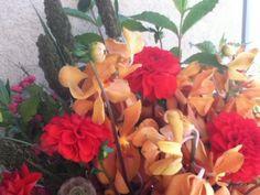 Mokara Orchids, Dahlias, Millet, Spindle Tree, Hydrangea, Scabiosa Pods