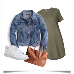 A fashion look from July 2016 featuring tee shirt dress, blue jean jacket and white tennis shoes. Browse and shop related looks. Polyvore Outfits, Polyvore Fashion, White Tennis Shoes, Blue Jean Jacket, J Crew, Fashion Looks, Shirt Dress, Nike, Clothing