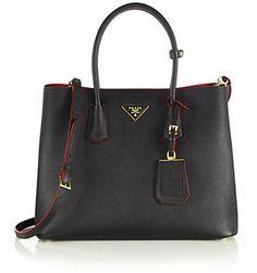 c1b421879736 Prada Saffiano Double Bag Black Saffiano Leather