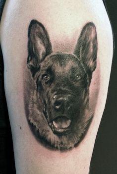 German Shepherd Dog Tattoo Portrait by ~JornArt on deviantART