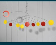 Modern Mobile in Zen Style - Low Ceiling Kinetic Art Mobile Sculpture in Yellow and Orange - Calder Inspired P139 by SkysetterMobiles on Etsy https://www.etsy.com/listing/168716486/modern-mobile-in-zen-style-low-ceiling