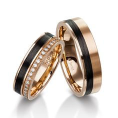Furrer Jacot rose gold carbon fiber wedding bands Furrer Jacot rose go. Wedding Band Styles, Matching Wedding Bands, Wedding Ring Bands, Mens Diamond Wedding Bands, Matching Rings, Wedding Bands Couples, Wedding Rings Sets His And Hers, Tungsten Wedding Bands, Matching Couples