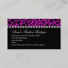 Women's Fashion Business Cards Ladies fashion apparel business card template including an animal style print pattern along with simulated rhinestone jewels to bring a little glitz and glam to your presentation. Designed for a ladies apparel store, clothing boutique, or outlet. #Artist Ladies Fashion, Women's Fashion, Fashion Outfits, Fashion Business Cards, Animal Fashion, Glitz And Glam, Boutique Clothing, Print Patterns, Latest Trends