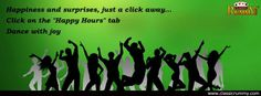 """Happiness and Surprises, just a click away... Click on """"HAPPY HOURS"""" tab and Dance with joy.  https://www.facebook.com/ClassicRummy/app_174961479209942"""