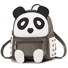 a19ff6dd102 Cute Panda Backpack for Girls and Boys Waterproof Leather Small Travel Bag