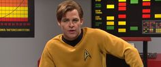 Chris Pine hosted Saturday Night Live last night and, yes, there was a Star Trek sketch. Interestingly, Pine and company did not spoof the current Trek films in which he plays Captain Kirk, but rather the sketch imagined a lost episode of Star Trek: