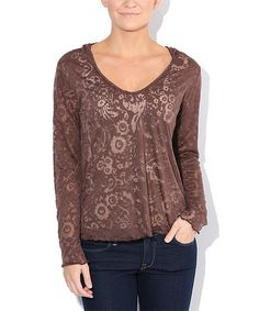Look what I found on #zulily! Brown Floral Hooded V-Neck Top #zulilyfinds
