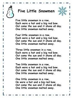 "This is a lyrics sheet for the song ""Five Little Snowmen"". You may also like another product which includes a ""Five Little Snowmen"" music video, book, mp3 and printable worksheets. Please click on the link below to view it: Five Little Snowmen: Music Video, Powerpoint, Song, and Printable Worksheets For a fun, winter-themed packet about winter clothes (includes music video, printable worksheets, coloring book, and mp3 recordings (with and without vocal part), please click on the link ...."
