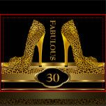 Fabulous 30 Leopard Gold Cheetah High Heels Shoes Party Elegant Birthday Party Gold Leopard Cheetah Diamond Image Invitation Birthday Party. Fabulous Elegant Events for Women, Girls, Party Invites for all ages, Customize with your own details and age. Template for Sweet 16, Quinceanera 15th, 20th, 21st, 30th, 40th, 50th, 60th, 70th, 80th, 90, 100th, Fabulous Women, Girls,  Zizzago created this design PLEASE NOTE all flat images! They Do NOT have Glitter, Diamonds Jewels or real Bows!!