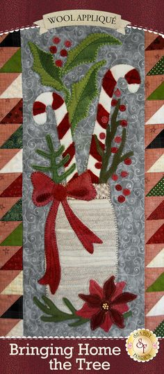 "There's nothing quite as exciting as the tradition of bringing home the Christmas tree each year! The Bringing Home The Tree Quilt perfectly captures the familiar feelings of the holidays with the candy canes, vintage trucks, holiday wreaths, a quaint farmhouse, and so much more! Designed by Stacy West for Buttermilk Basin and recolored by Shabby Fabrics. Finishes to 43"" x 51"". Your kit will include the following: All Applique Fabrics - 100% WOOL Pattern Half Square Triangle P..."