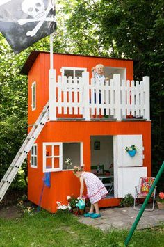 We got a playhouse in our background when i was about 7, on Christmas, it was so awesome. i remember thinking it was so cool because it was made out of real wood and shingles.