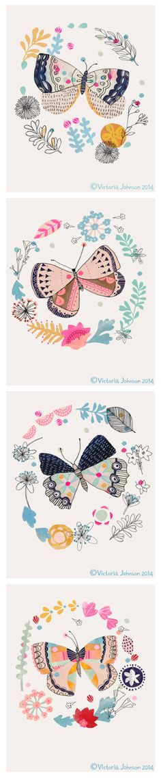 Butterflies by www.victoriajohnsondesign.com