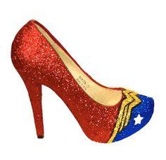 Women's Sparkly Wonder Woman SuperHero Glitter heels shoes wedding bride gift