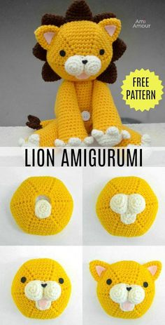 """FREE Lion Amigurumi Crochet Pattern Here's a cute crochet lion that's the """"pawfect"""" size for hugging. This free amigurumi pattern creates a tawny lion that's sure to be King of the Pride! Crochet Lion, Crochet Pattern Free, Crochet Animal Patterns, Crochet Patterns Amigurumi, Stuffed Animal Patterns, Cute Crochet, Amigurumi Doll, Crochet Animals, Crochet Dolls"""