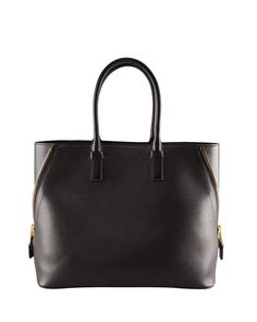 Tom Ford - Jennifer Trap Calfskin Tote Bag, Black