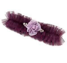 Plum Tulle Garter with Flower