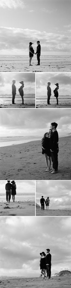 Beach maternity session, so cute! Would prefer it with only the woman. like the visible humidity and silhouette