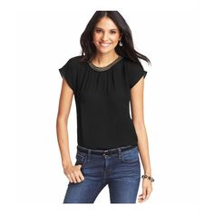 LOFT Petite Beaded Neck Dolman Sleeve Tee ($25) ❤ liked on Polyvore featuring tops, t-shirts, black, beaded t shirts, keyhole top, dolman sleeve t shirt, ruched tee and short tops
