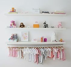 hanging clothes for nursery (this is great for those that use closet area for the crib space)