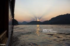 Sunset over the Mekong River in Luang Prabang, Laos