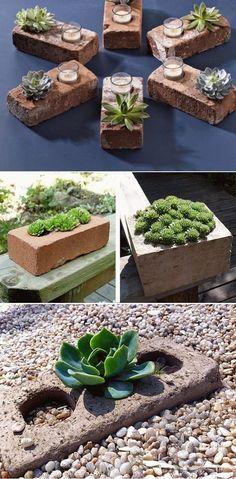 DIY-Succulent-Planters-Of-Used-Bricks