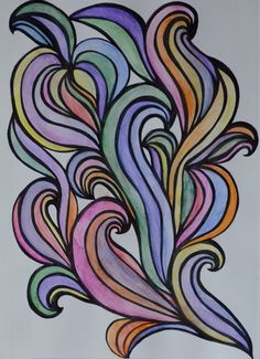 Colorful swirls... (using sharpie and watercolor pencils)- SF