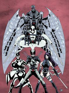 Uncanny X-Force- Wolverine, Fantomex, Psylocke, Deadpool, & Archangel Comic Book Characters, Marvel Characters, Comic Character, Comic Books Art, Comic Art, Comic Pics, Marvel Comics Art, Marvel X, Nerd