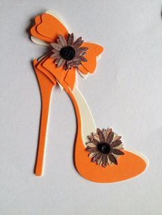 6 orange and cream  high heel elegant shoe with ankle bows card toppers on Etsy, £1.75