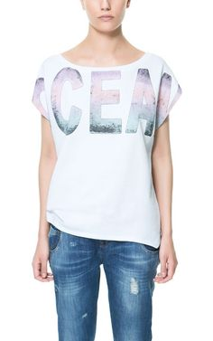 "Image 1 of ""OCEAN"" VELOUR T-SHIRT from Zara"