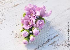 """Гребень для волос """" Райские цветы"""" - сиреневый,Калипсо,гребень для волос"""