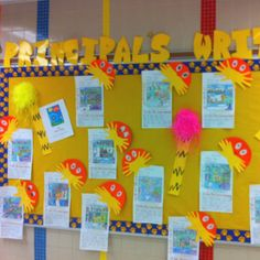 KB Principals Writing Wall: Book Report on The Lorax - students drew events from the beginning, middle & end. They also wrote 1 to 2 sentences on why they liked The Lorax.