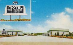 Motel Two Harbors - Two Harbors, Minnesota Postcard