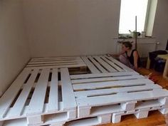 Double bed build with 8 euro pallets Doppelbett build mit 8 Europaletten 3 Double bed build with 8 euro pallets 3 - Pallet Bedframe, Diy Pallet Bed, Diy Pallet Furniture, Bed Frame Pallet, Wooden Pallet Beds, Design Furniture, Pallet Wood, Pallet Ideas, Furniture Ideas