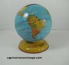 1940s  J. Chein & Co Globe Bank Vintage Tin Litho Continents Siam Retro Room Decor Mid Century Toy