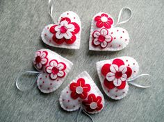 Felt Ornament hearts flowers red white hanging by feltgofen
