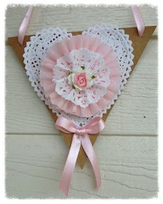 Valentine Ornament Shabby Chic Heart Banner by JeanKnee on Etsy