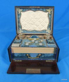 Antique French 1800s Palais Royal Sewing BOX Etui Thimble Tools Perfume Bottles | eBay