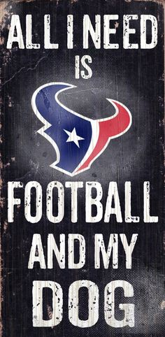 Houston Texans Wood Sign - Football and Dog 6x12