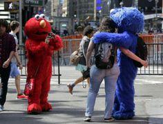 strange sites in Times Square | Elmo in Times Square |