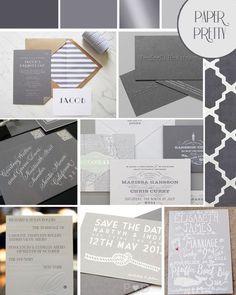 Grey wedding stationery inspiration board via Love My Dress.