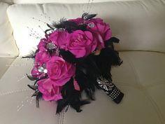 Wedding Bouquet Flower Set Damask Hot Pink Feathers Gems Rhinestones Pearls