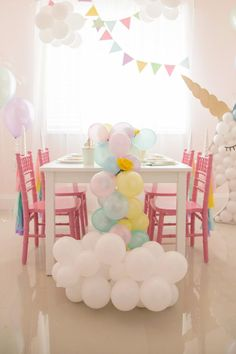 What is more magical than a Rainbow party? A UNICORN PARTY, that& what! I have been wanting to design a Unicorn party since I can remember. Unicorn Birthday Parties, Birthday Party Themes, Girl Birthday, Birthday Cake, Rainbow Parties, White Balloons, Balloon Decorations, Balloon Centerpieces, Halloween Decorations