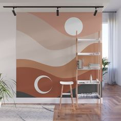 Moon and Sun Season Wall Mural by cafelab Bedroom Wall, Bedroom Decor, Wall Decor, Entryway Decor, Wall Design, House Design, Diy Wall Painting, Creative Wall Painting, New Room