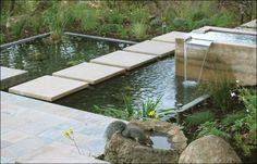 Concrete Walkway Huettl Landscape Architecture Walnut Creek, CA Pond Landscaping, Landscaping With Rocks, Modern Landscaping, Backyard Water Feature, Ponds Backyard, Pond Design, Garden Design, Landscape Architecture, Landscape Design