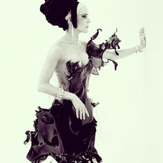 """The beautiful Daphne Guinness. """"Splash"""" dress by Iris Van Herpen for SHOWstudio. Live now on SHOWstudio.com #irisvanherpen #daphneguinness #showstudio #nickknight. 9th April 2013"""