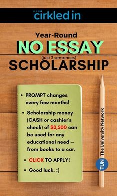 3 sentences is all you need to apply for this scholarship! Click to apply now, save to apply later!