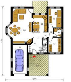 Exkluzívny rodinný dom s obytným podkrovím. Cute White Boys, Bungalow, Floor Plans, Bungalows, Rambler House