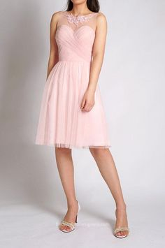 latest pink illusion neck lace appliqued pleated tulle bridesmaid dress