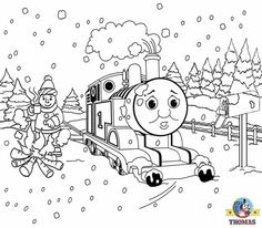 Frosty Christmas pictures winter animal coloring pages for children Thomas and friends Percy the train engine in a Santa hat costume. Description from thomasthetankenginefriends.blogspot.ae. I searched for this on bing.com/images