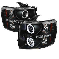Spyder 2007-2013 Chevrolet Silverado 3500 2500 HD 1500 Projector Headlights CCFL Halo LED - Black - Set of 2 (PRO-YD-CS07-CCFL-BK)